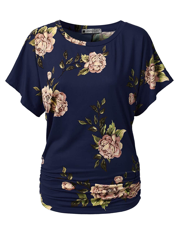 6eb35c82d6c Get Quotations · URBANCLEO Womens Short Sleeve Dolman Drape Top Shirts (Plus