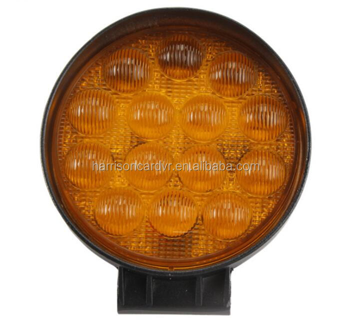 42W 5D Yellow Round Work Light Bar Led Driving Light IP67 2880LM for Tractor Boat Off Road 4WD 4x4 Truck Tralier minning