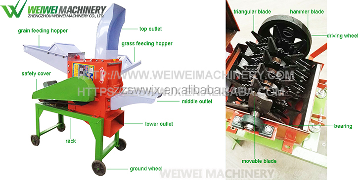 Cow farm fodder chaff cutter