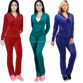40141d69371 Women s Fashion Hoodie Velour 2 piece Set Tracksuit Sweatsuit Women Plain  Fitted Tracksuit