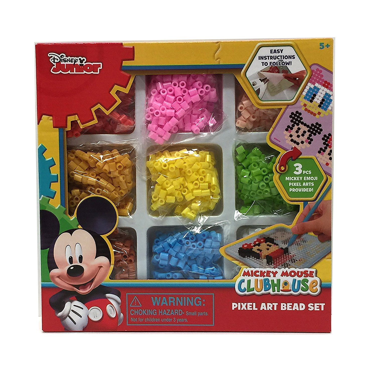 Mickey Mouse Pixel Art disney junior mickey mouse clubhouse pixel art bead set - 3 piece mickey  emoji art