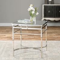 WELL MADE STAINLESS STEEL SIDE END TABLE MIRROR TOP MODERN HOME OR OFFICE