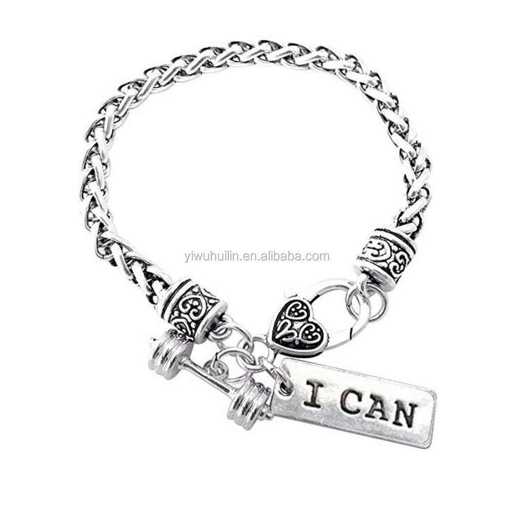 B6002065 Cross Fit Training Weight Lifting I CAN charm Wheat Link Gym Bodybuilding Fitness Dumbbell Barbell Bracelet, Antique silver
