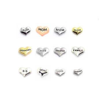 2018 silver heart charm family mom dad son daughter dream love letter floating charms