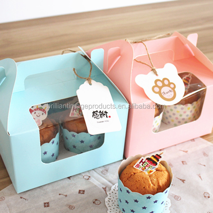 Cavity Clear Window Creative Kraft Blue & White &Pink Cupcake Boxes Muffin Packaging Box