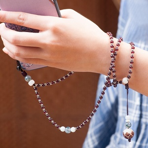 Guangzhou manufacturer garnet bracelet neck lanyard beaded mobile phone straps for mobiles /cards keys