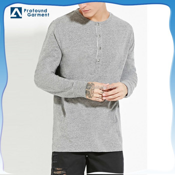 Mens New Design Henley Shirt With Long Sleeve Wholesale