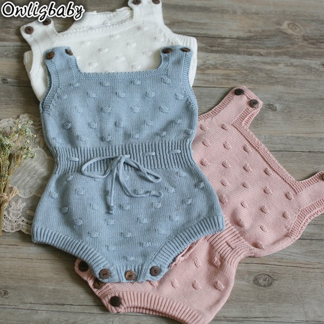 Hu Sunshine baby girls boys knit rompers pink white gray jumpsuit фото