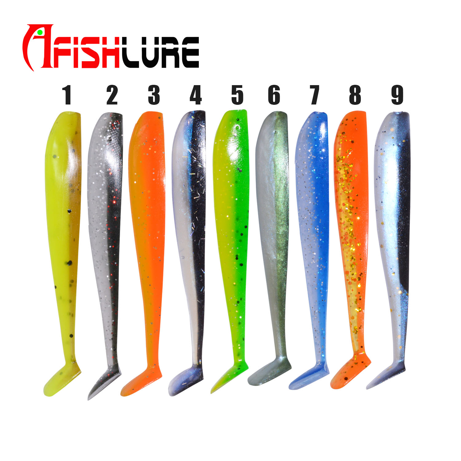 Double Colors T Tail Soft Lure 65mm 1.5g 8pcs/bag Paddle Tail Soft Fishing Lure Bass Fishing Swimbait Soft Lures Fishing Soft Ba, Various color