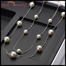Wholesale Women Gold Pearl Artificial Jewellery Chain Necklace