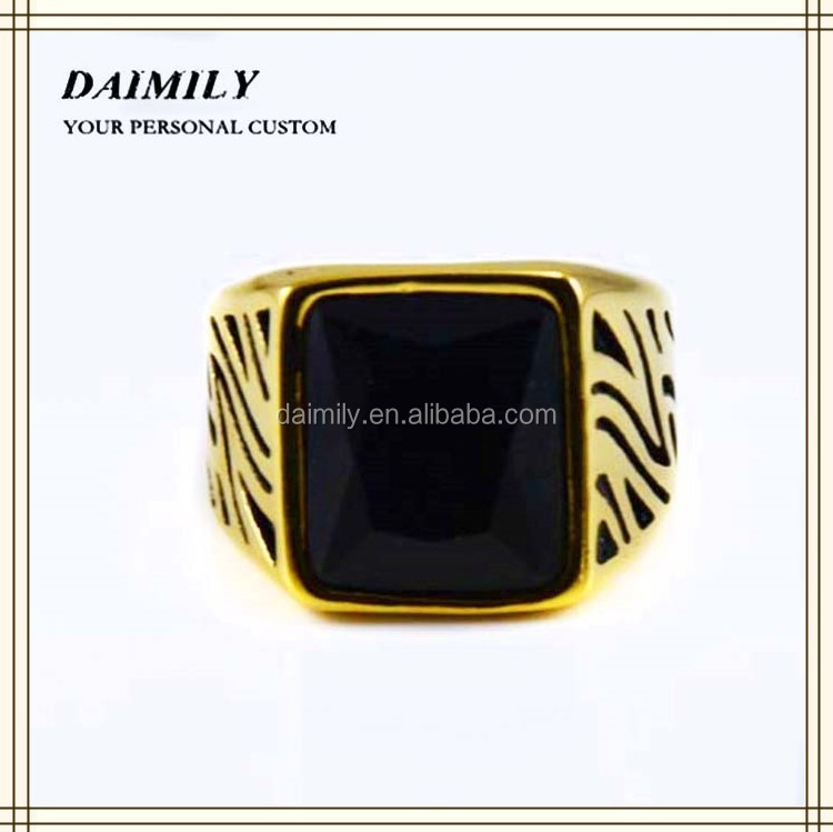 Guangzhou Jewlery Company Wholesale Mens Ring Plated Gold Stainless Steel Black Stone Ring Mens Stone Ring