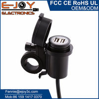 Waterproof dual USB 12V motorcycle bike cell phone charger kit