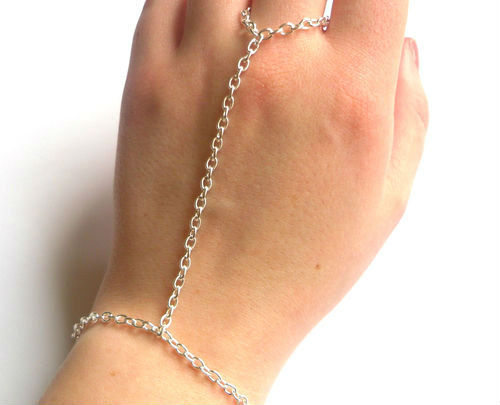 Godbead Retro Antique Silver Hand Harness, Bracelet & Ring Chain, Armour, Hand Chain, Rocker, Rock, High Fashion