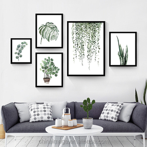 Popular Watercolor Tropical Plant Leaves Art Print Poster Nordic Green Plant Leaf Rural Wall Pictures for Decoration framed art