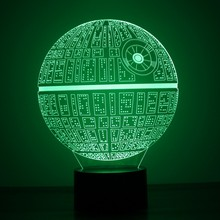 Multi-colored Death Star 3D led night lamp for Star War Fans
