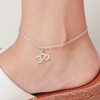wholesale New fashion Alphabet number silver plated simple pendant anklet alloy jewelry for women beach holiday footwear