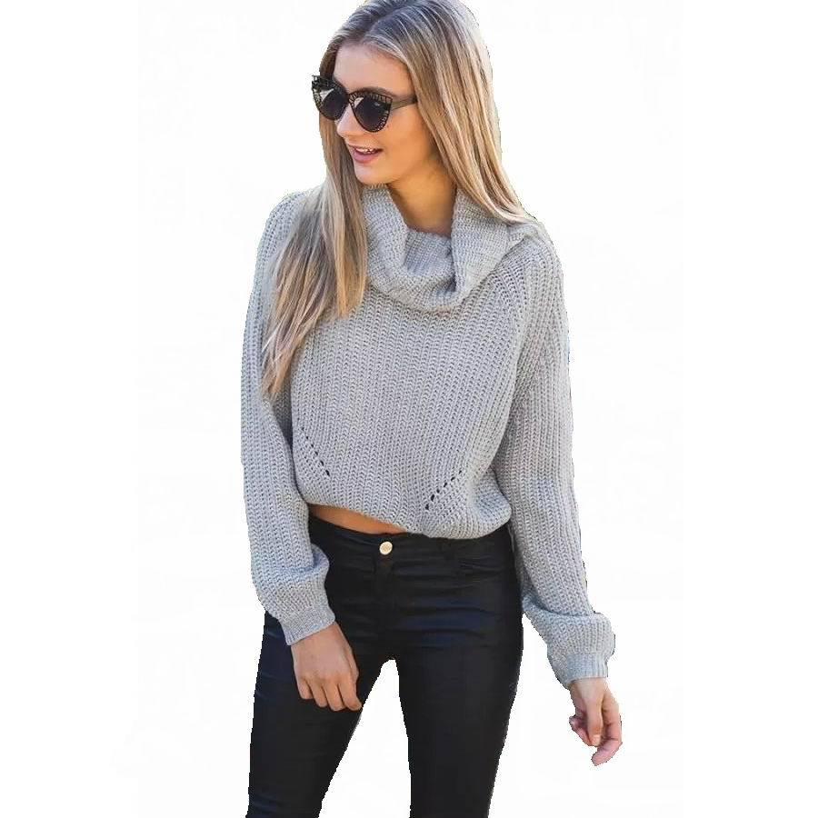 3c71bc3e8 Get Quotations · Women knitted sweaters and pullovers Short Crop Tops  Casual Style Turtleneck 2015 Autumn Winter New FASHION