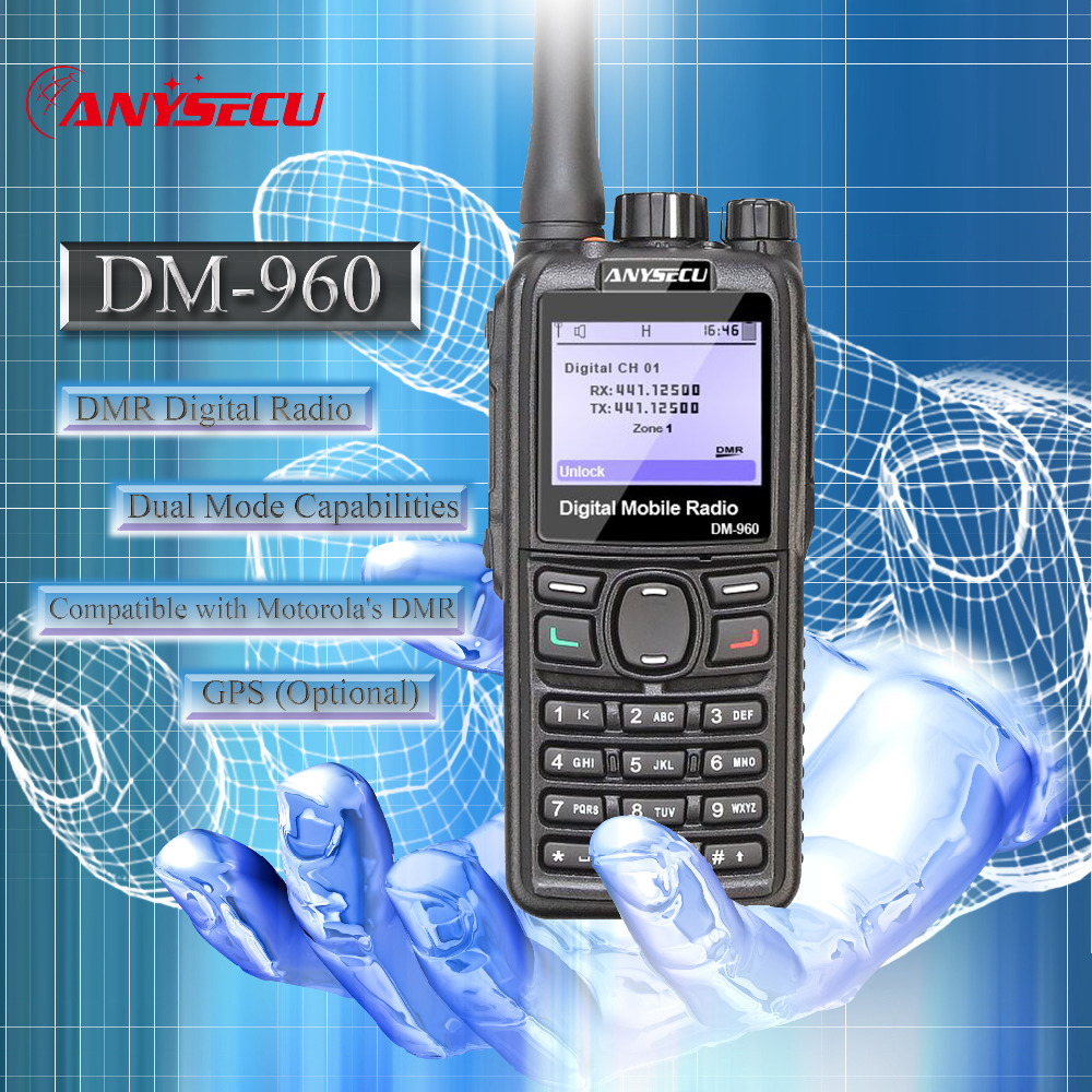 New Launch Dual Mode TDMA digital/Analo DMR Radio Anysecu DM-960 UHF Compatible with MOTOTRBO with High Capacity Battery 3000mAh