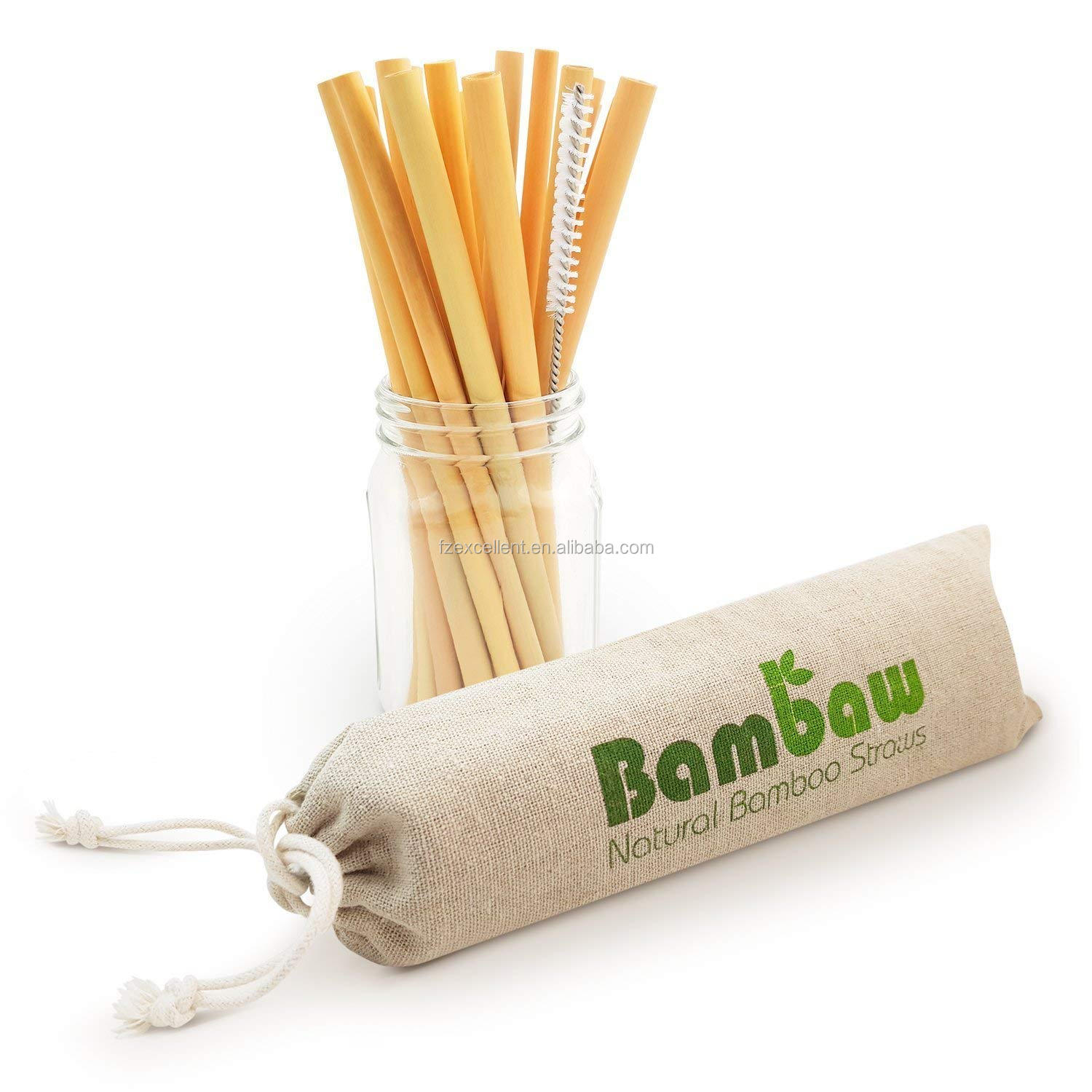 China Wholesale High Quality Drinking Customized Logo Bamboo Straw Natural With Cleaning Brush