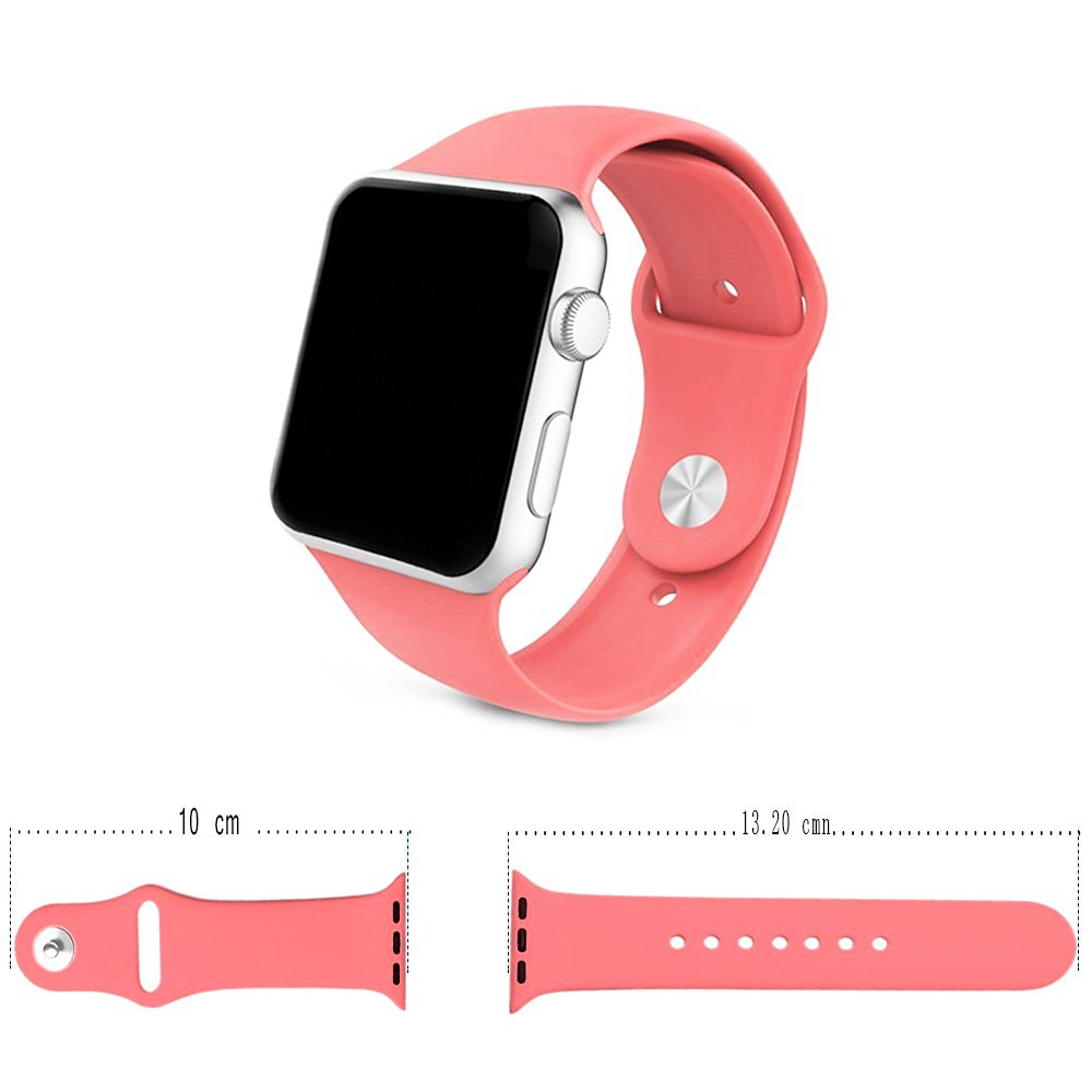 Apple Watch Band ,Soft Silicone Sport Style Iwatch Band Wrap Waterproof,Replacement Bracelet Strap (38mm, Coral)