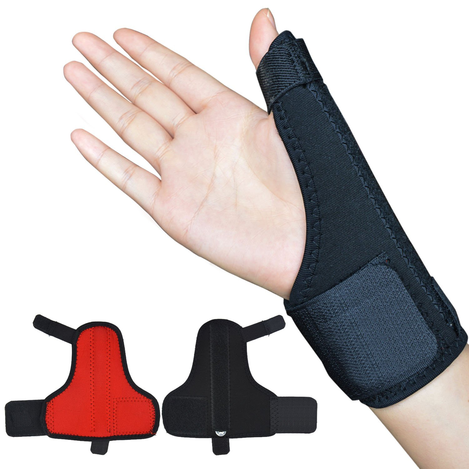 Beyoung(TM) Adjustable Thumb Brace Stabilizer Support Brace Carpal Tunnel Wrist Splint with Thumb Stabilizer - One Size Fits Most (2)
