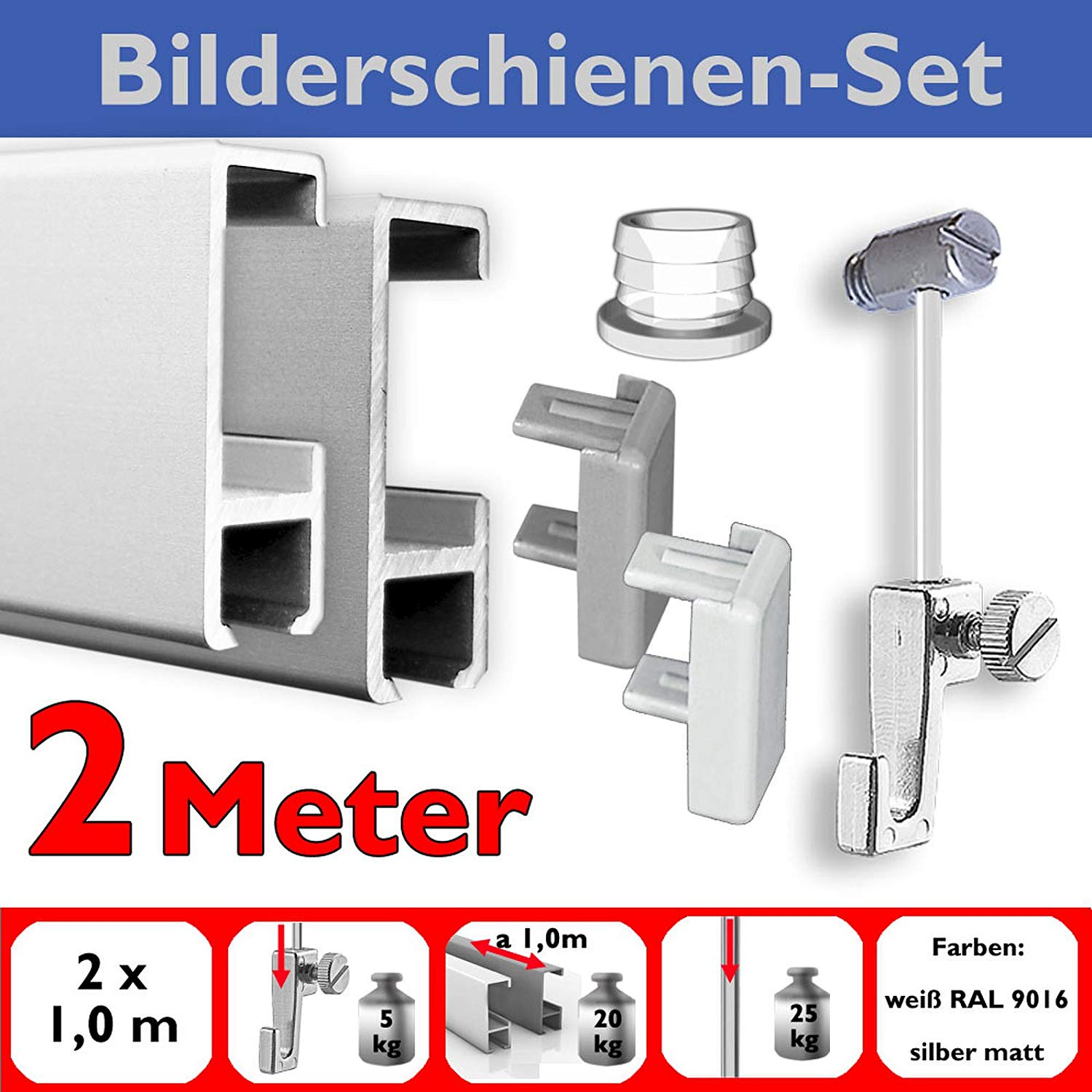 2m picture hanging kit 6,56 ft, 2,18 yard picture rails gallery rails with accessories in white or silver