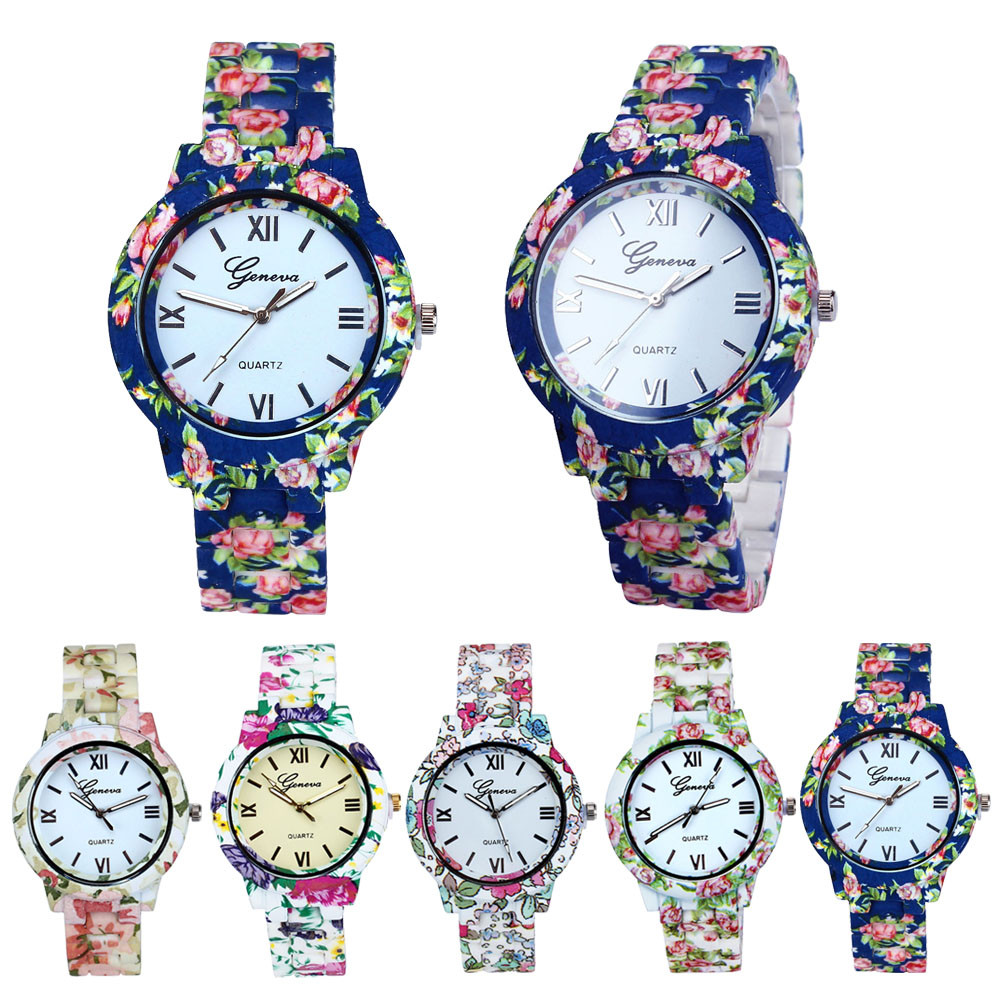 f5be653e2f050 Fashion Casual Watches For Women Design Flower Band Analog Quartz ...