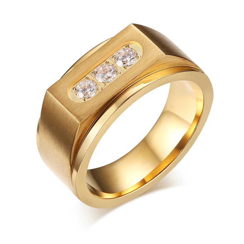 New Gold Ring Models For Men Brushed Matt Stainless Steel Wedding ...