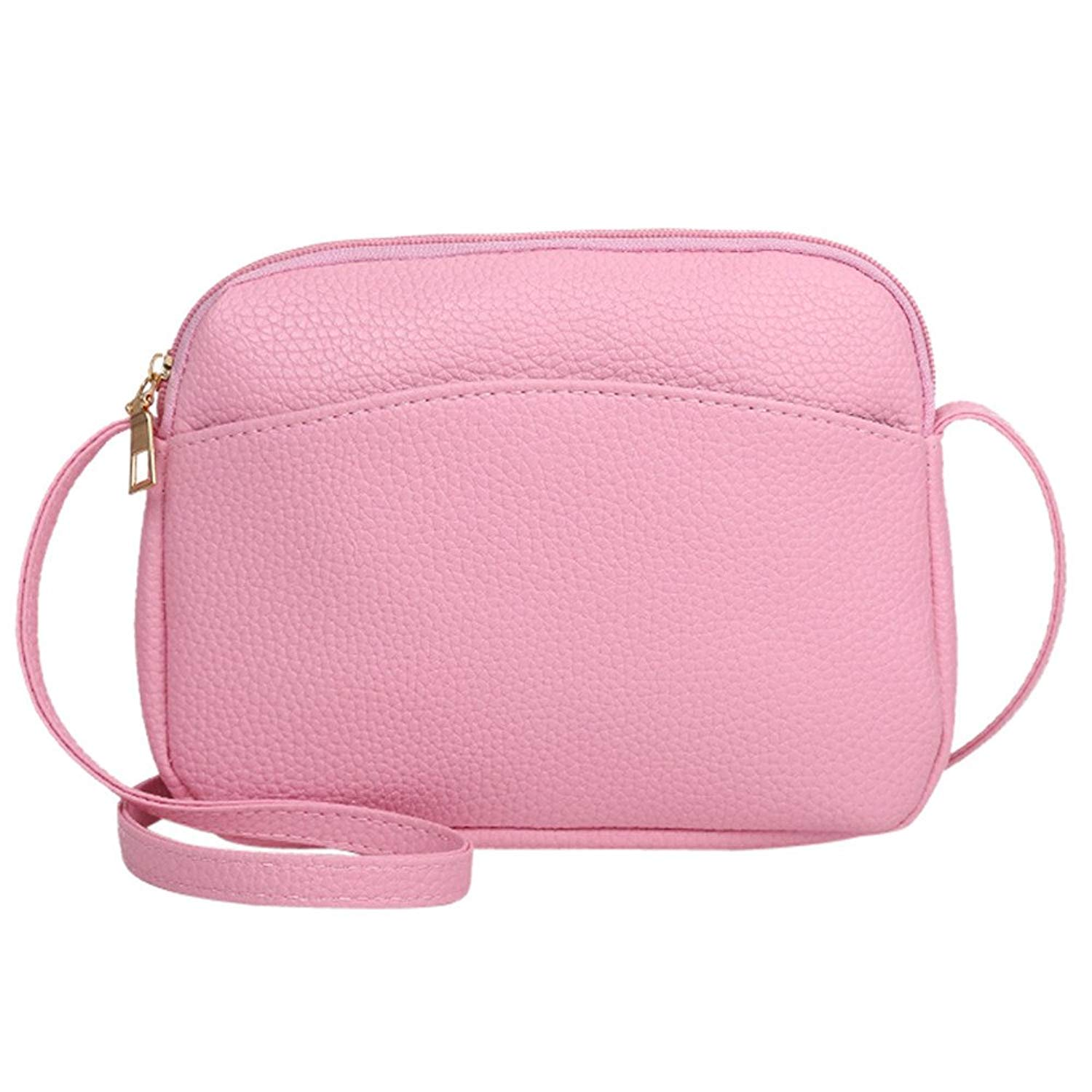 Women Bag Clearance! ZOMUSAR Vintage Women Pure Color Litchi Pattern PU Leather Crossbody Shoulder Bag