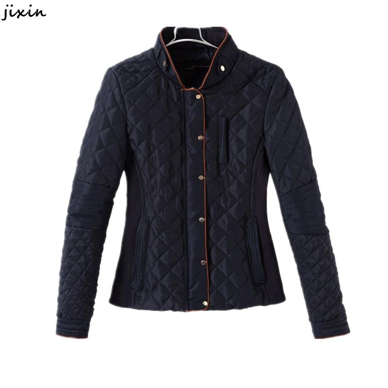 Fashion Women Jacket And Coats Quilted Slim Shrug Cotton Blue Long Sleeve Bomber Jacket Autumn Winter Outerwear