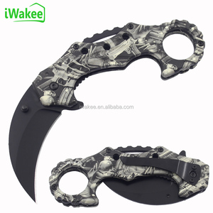 CS GO Karambit Tactical Hunting Folding Knife with finger ring camouflage PP handle