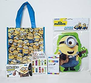 Despicable Me, Minion Holiday Christmas Stocking Stuffer Bundle - Includes: Reusable Bag, Jumbo Sketchbook, Finger Tales Monster Temporary Finger Tattoos, Yoobi Crayons, and Mike & Ike