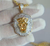 factory custom AAA cubic zirconia curb cuban chain hip hop bling mens lion head pendant necklace