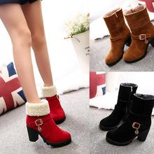 zm50502b autumn and winter new style short women boot chunky heels dull polish lady shoe
