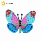 Colorful embroidery butterfly patch custom appliques for clothing