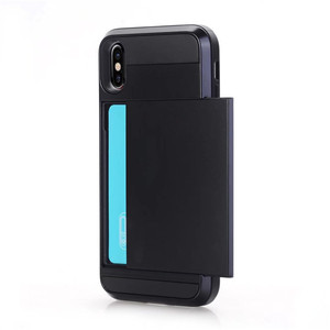 Fashion Luxury Armor Shockproof Card Slot Slide Wallet Mobile Cell Phone Cover Case For Iphone Xs Max