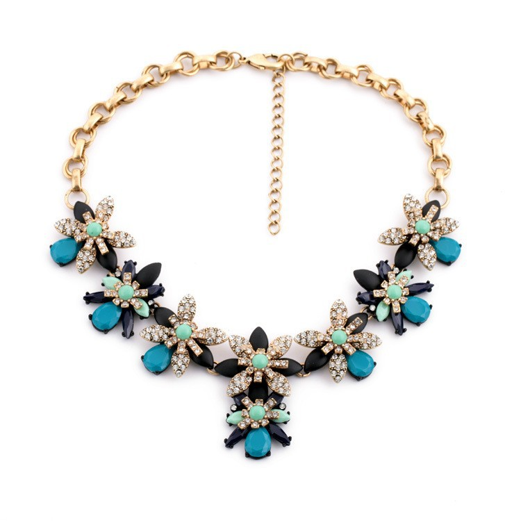 New Classical flower shape crystal blue zircon Gold chain necklace
