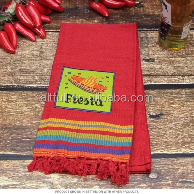 China supplier 100% Cotton fabric embroidered and jacquard Kitchen Dish Towels with tassels,fouta Dish Cloths