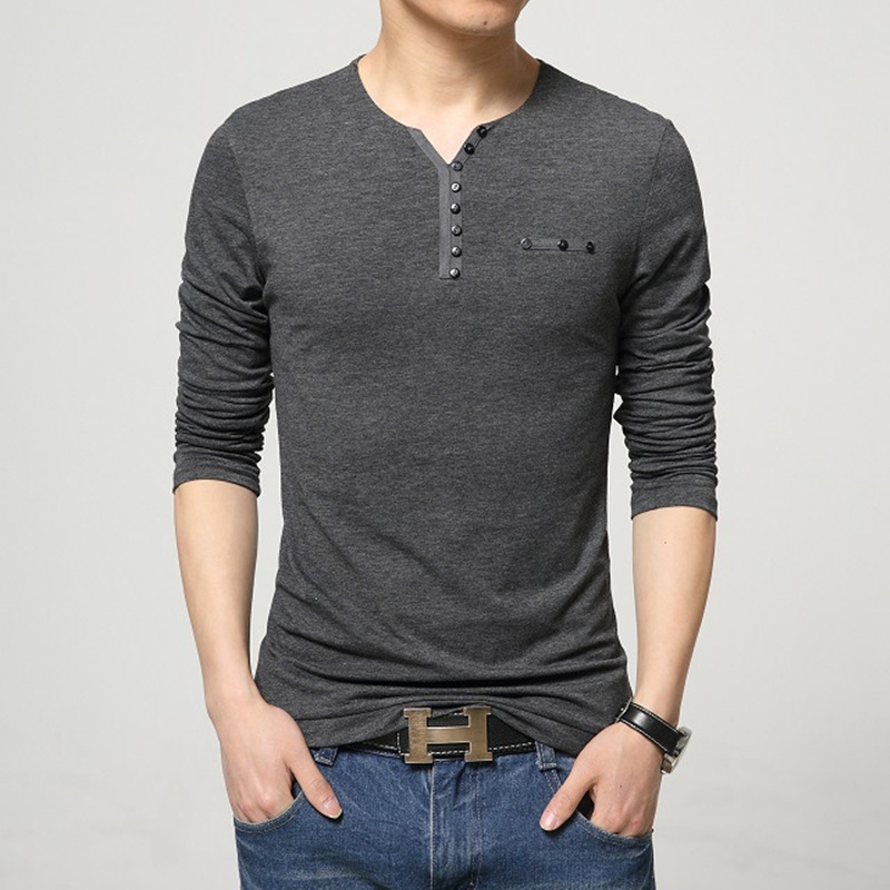 2016 Fashion Mens Slim Fit Long Sleeve T Shirts Stylish ...