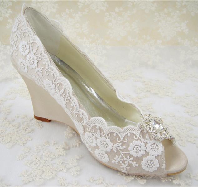 Bridal Shoes Wedges Lace
