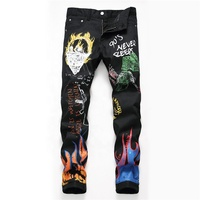 Black personality trend graffiti print casual jeans Small straight pants for men