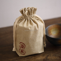 Custom printed cotton burlap fabric jewelry gift packaging bags wrap with logo