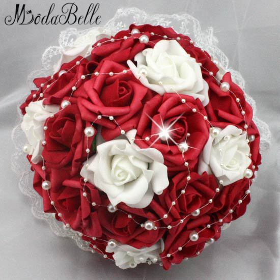 White And Red Wedding Flowers: Beautiful Artificial Red Wedding Flowers Bridal Bouquets