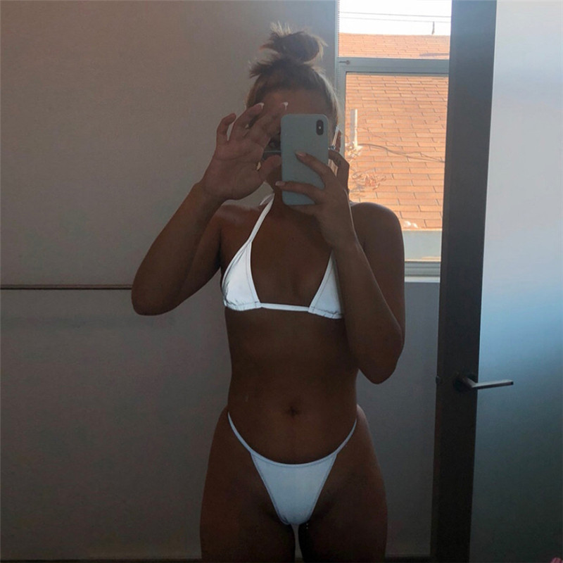Silver Reflective Set Sexy Women Two Piece Outfits Halter Crop Top Bra And Thong Shorts Beach Club 2pc Y10529 фото