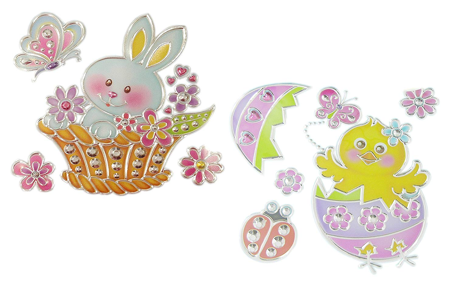 Easter Spring Window Decoration Bundle - Adorable Bunny Ducky and Chick Sun Catcher Window Decal Stickers (2-Pack Bunny & Chick)