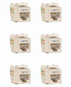 Tripp Lite (N238-001-WH) 6-Pack Cat. 6/Cat. 5e RJ45 110 Punch Down Keystone Jack Network Connector