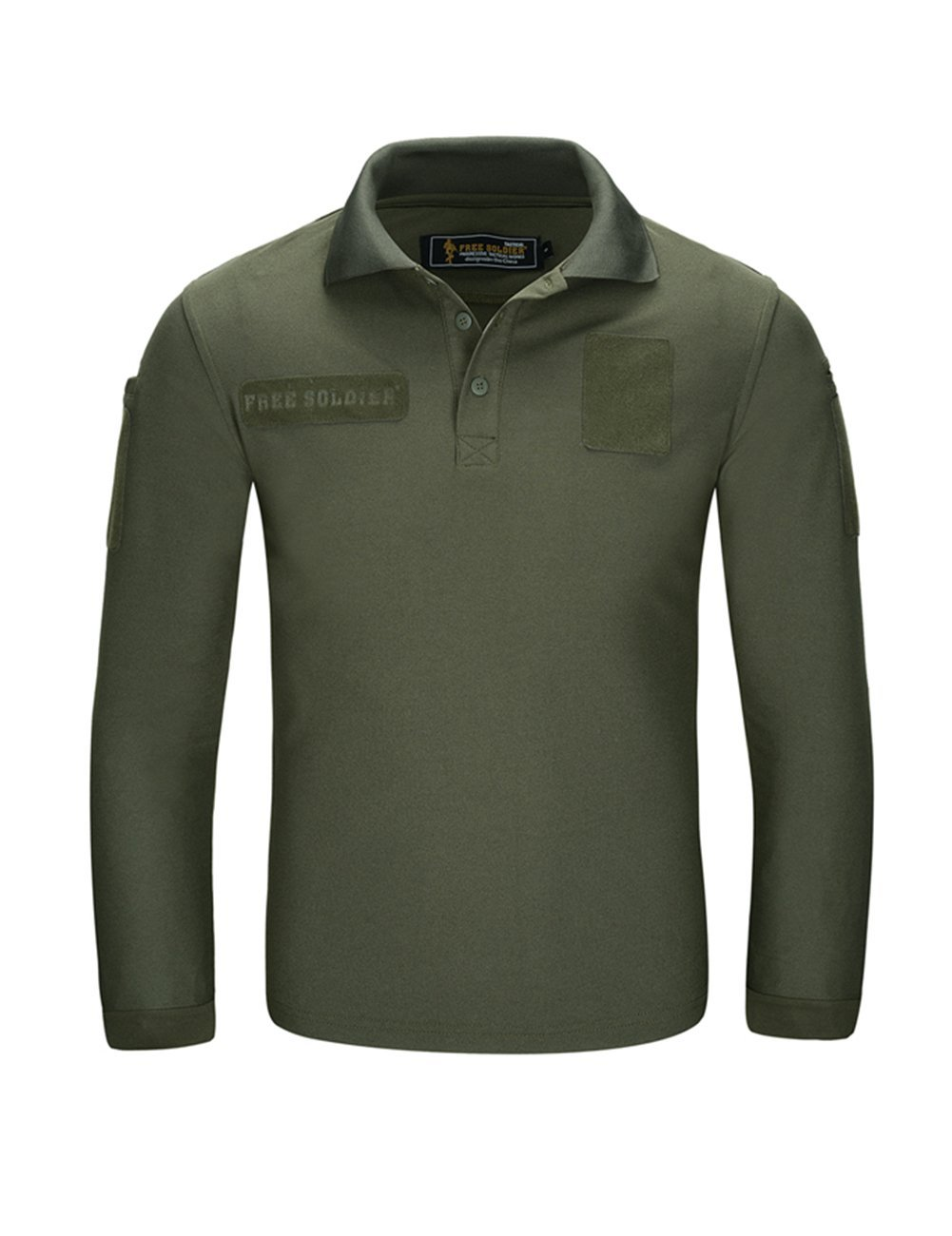 3ed8c99a7b53 Get Quotations · FREE SOLDIER Men s Long Sleeve Polo Shirt Breathable  Coolmax Tactical Polo