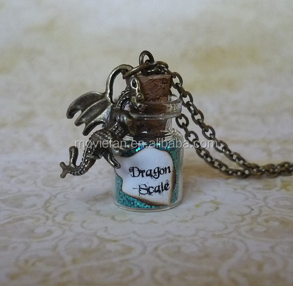Turquoise Dragon Scale Necklace Fairy Dust Jewelry Dragon Charm Glass Bottle Pendant Dragon Pendant