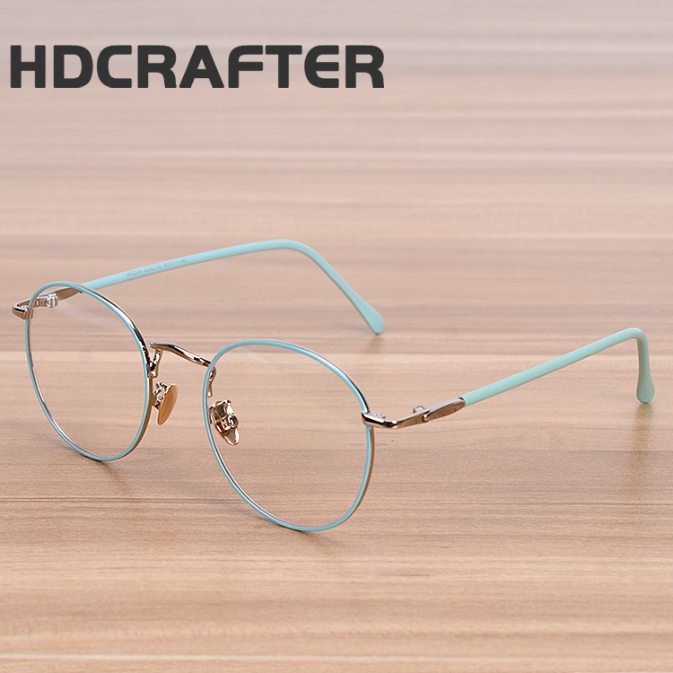HDCRAFTER Men and women fine metal glasses frames decorative mirror students round rimmed eyewear
