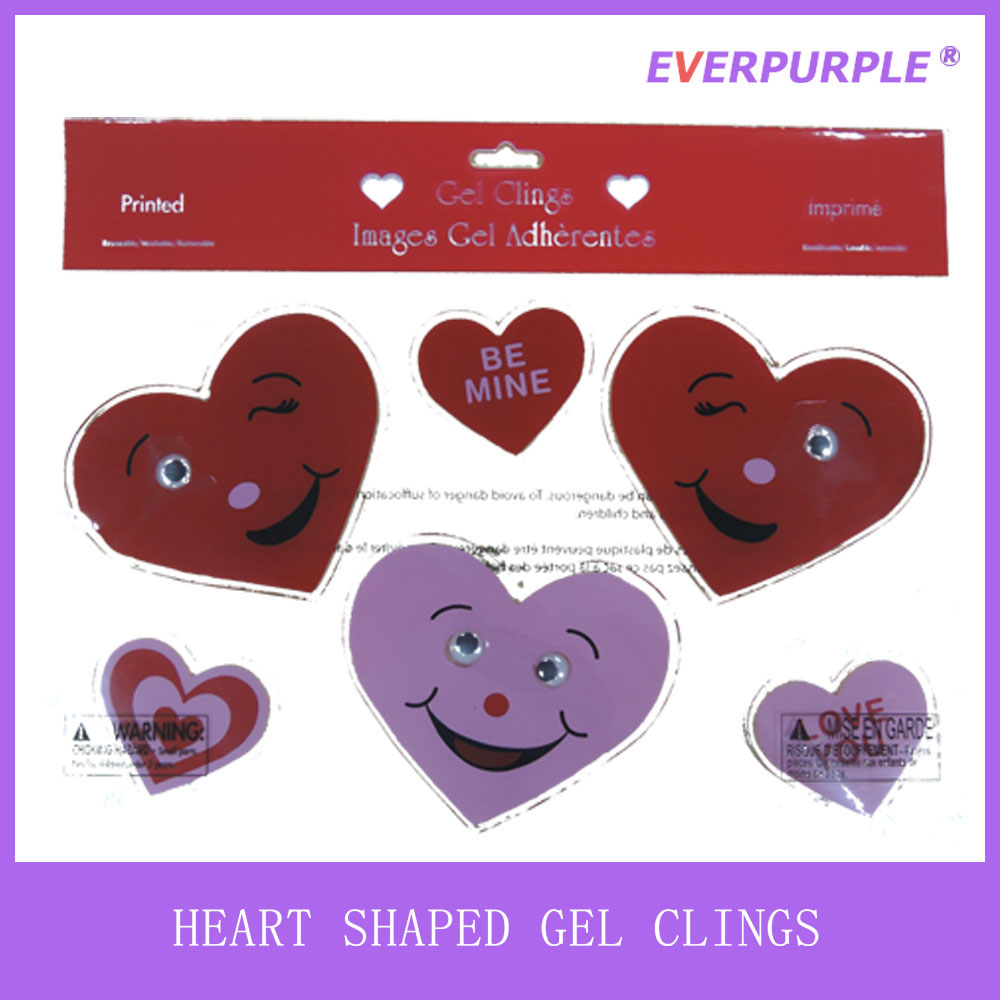 2016 high quality romantic love heart shaped smile face valentine gel cling and jelly window gel sticker for decoration